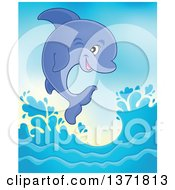 Clipart Of A Cute Dolphin Leaping Out Of Water Royalty Free Vector Illustration by visekart