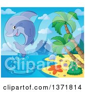 Clipart Of A Cute Dolphin Leaping Out Of Water Near An Island With A Silhouetted Ship In The Background Royalty Free Vector Illustration by visekart