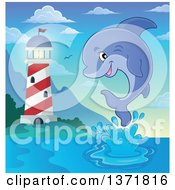 Clipart Of A Cute Dolphin Leaping Out Of Water Near A Light House Royalty Free Vector Illustration by visekart