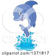 Clipart Of A Cute Dolphin Jumping Out Of Water Royalty Free Vector Illustration