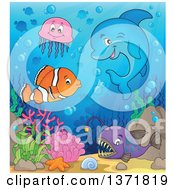 Clipart Of A Cute Dolphin And Fish At A Reef Royalty Free Vector Illustration by visekart