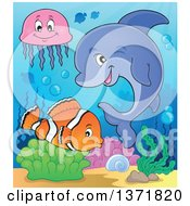 Clipart Of A Cute Dolphin And Fish In The Ocean Royalty Free Vector Illustration by visekart