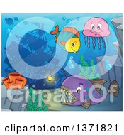 Clipart Of A Sunken Ship And Fish Royalty Free Vector Illustration by visekart