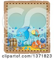 Clipart Of A Cute Dolphin And Fish With Sunken Treasure On An Aged Parchment Page Royalty Free Vector Illustration