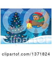 Clipart Of A Cartoon Owl Wearing A Winter Scarf And Hat Flying And Ringing A Bell Over A Christmas Tree Royalty Free Vector Illustration
