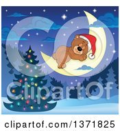 Clipart Of A Cute Brown Christmas Bear Wearing A Santa Hat And Sleeping On A Crescent Moon Over A Tree And Forest Royalty Free Vector Illustration by visekart