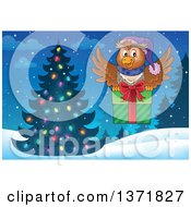 Clipart Of A Cartoon Owl Flying With A Gift Near A Christmas Tree Royalty Free Vector Illustration