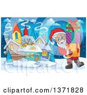 Clipart Of Santa Claus Carrying Christmas Gifts In A Snowy Village Royalty Free Vector Illustration by visekart