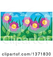 Clipart Of A Garden Of Purple Daisy Flowers Royalty Free Vector Illustration by visekart