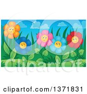 Clipart Of A Garden Of Happy Daisy Flowers Royalty Free Vector Illustration by visekart