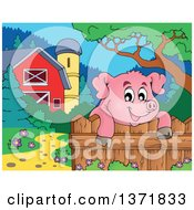 Happy Pig Over A Fence Near A Barn And Silo