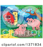 Happy Pigs Playing At A Mud Puddle Near A Barn And Silo