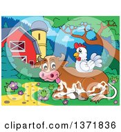 Chicken Resting On A Cow Near A Barn And Silo