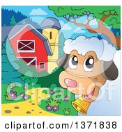 Clipart Of A Happy Sheep Peeking Around A Corner Near A Barn And Silo Royalty Free Vector Illustration by visekart