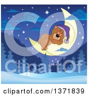 Clipart Of A Cute Brown Bear Sleeping On A Crescent Moon Over A Winter Landscape Royalty Free Vector Illustration by visekart