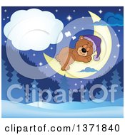 Clipart Of A Cute Brown Bear Dreaming On A Crescent Moon Over A Winter Landscape Royalty Free Vector Illustration