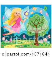 Clipart Of A Happy Blond Fairy Flying With A Flower Over A Spring Landscape Royalty Free Vector Illustration
