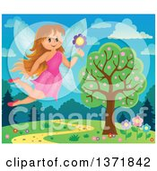 Clipart Of A Happy Fairy Flying With A Flower Over A Spring Landscape Royalty Free Vector Illustration by visekart