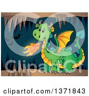 Clipart Of A Cartoon Green Fire Breathing Dragon In A Cave With Bats Royalty Free Vector Illustration by visekart