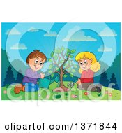 Clipart Of A Caucasian Boy And Girl Planting A Tree Together On A Hill Royalty Free Vector Illustration
