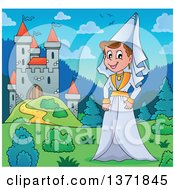 Clipart Of A Cartoon Happy Medieval Princess By A Castle During The Day Royalty Free Vector Illustration by visekart