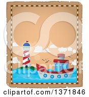 Clipart Of A Boat And Lighthouse Parchment Page Royalty Free Vector Illustration by visekart