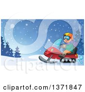 Clipart Of A Cartoon Happy White Man Driving A Snowmobile In The Winter Royalty Free Vector Illustration