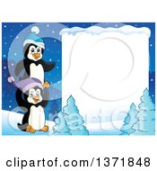 Blank White Sign Bordered With Cute Penguins And Snow