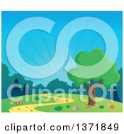 Clipart Of A Spring Time Backdrop Of A Tree Path Flowers And Sunshine Royalty Free Vector Illustration by visekart