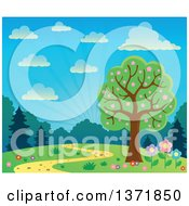 Clipart Of A Spring Time Backdrop Of A Blossoming Tree Path Flowers And Sunshine Royalty Free Vector Illustration