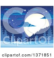 Clipart Of A Nature Backdrop Of A Winter Night With A Full Moon Mountains Stars Evergreens And Snow Royalty Free Vector Illustration