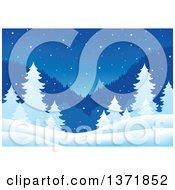 Clipart Of A Nature Backdrop Of A Winter Night With Mountains Evergreens And Snow Royalty Free Vector Illustration by visekart