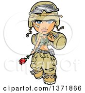 Female Army Soldier Walking With A Bag Rose And Bandage On Her Cheek