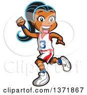 Clipart Of A Happy Black Basketball Player Girl Running And Cheering Royalty Free Vector Illustration by Clip Art Mascots #COLLC1371867-0189