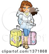Clipart Of A Happy Jet Setter Woman Standing With Luggage Royalty Free Vector Illustration