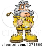 Clipart Of A Safari Explorer Man Holding A Whip Royalty Free Vector Illustration