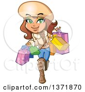 Clipart Of A Fashionable Woman Carrying Shopping Bags Royalty Free Vector Illustration