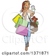 Woman Talking On A Smart Phone Walking With A Coffee And Carrying Shopping Bags
