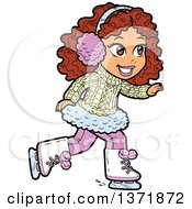 Clipart Of A Happy White Girl Ice Skating Royalty Free Vector Illustration