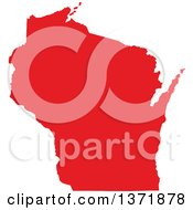Clipart Of A Republican Political Themed Red Silhouetted Shape Of The State Of Wisconsin USA Royalty Free Vector Illustration