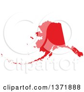 Clipart Of A Republican Political Themed Red Silhouetted Shape Of The State Of Alaska USA Royalty Free Vector Illustration