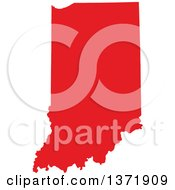 Clipart Of A Republican Political Themed Red Silhouetted Shape Of The State Of Indiana USA Royalty Free Vector Illustration