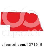 Clipart Of A Republican Political Themed Red Silhouetted Shape Of The State Of Nebraska USA Royalty Free Vector Illustration