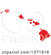 Clipart Of A Republican Political Themed Red Silhouetted Shape Of The State Of Hawaii USA Royalty Free Vector Illustration by Jamers