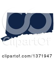Democratic Political Themed Navy Blue Silhouetted Shape Of The State Of Connecticut USA
