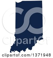 Democratic Political Themed Navy Blue Silhouetted Shape Of The State Of Indiana USA