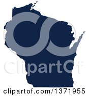 Democratic Political Themed Navy Blue Silhouetted Shape Of The State Of Wisconsin USA