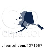 Clipart Of A Democratic Political Themed Navy Blue Silhouetted Shape Of The State Of Alaska USA Royalty Free Vector Illustration