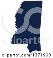 Clipart Of A Democratic Political Themed Navy Blue Silhouetted Shape Of The State Of Mississippi USA Royalty Free Vector Illustration
