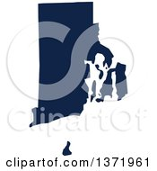 Clipart Of A Democratic Political Themed Navy Blue Silhouetted Shape Of The State Of Rhode Island USA Royalty Free Vector Illustration